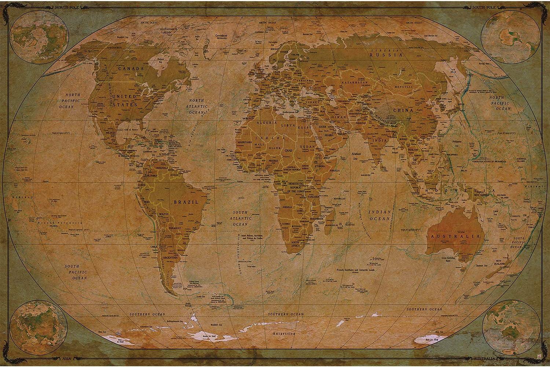 GREAT ART Mural De Pared – Retro Mapa del Mundo – Mural Estilo Usado Mundial Continente Atlas Mundial Antiguo Lóbulo Geógrafia Tapiz Y Decoración Imagen (210 X 140 Cm): Amazon.es: Hogar