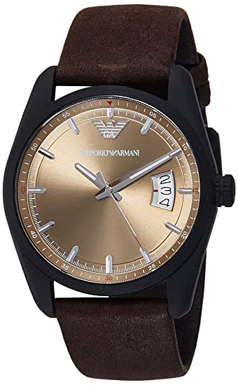 73c17ef1f2 Emporio Armani Men's AR6081 Sport Brown Leather Watch: Amazon.ca ...