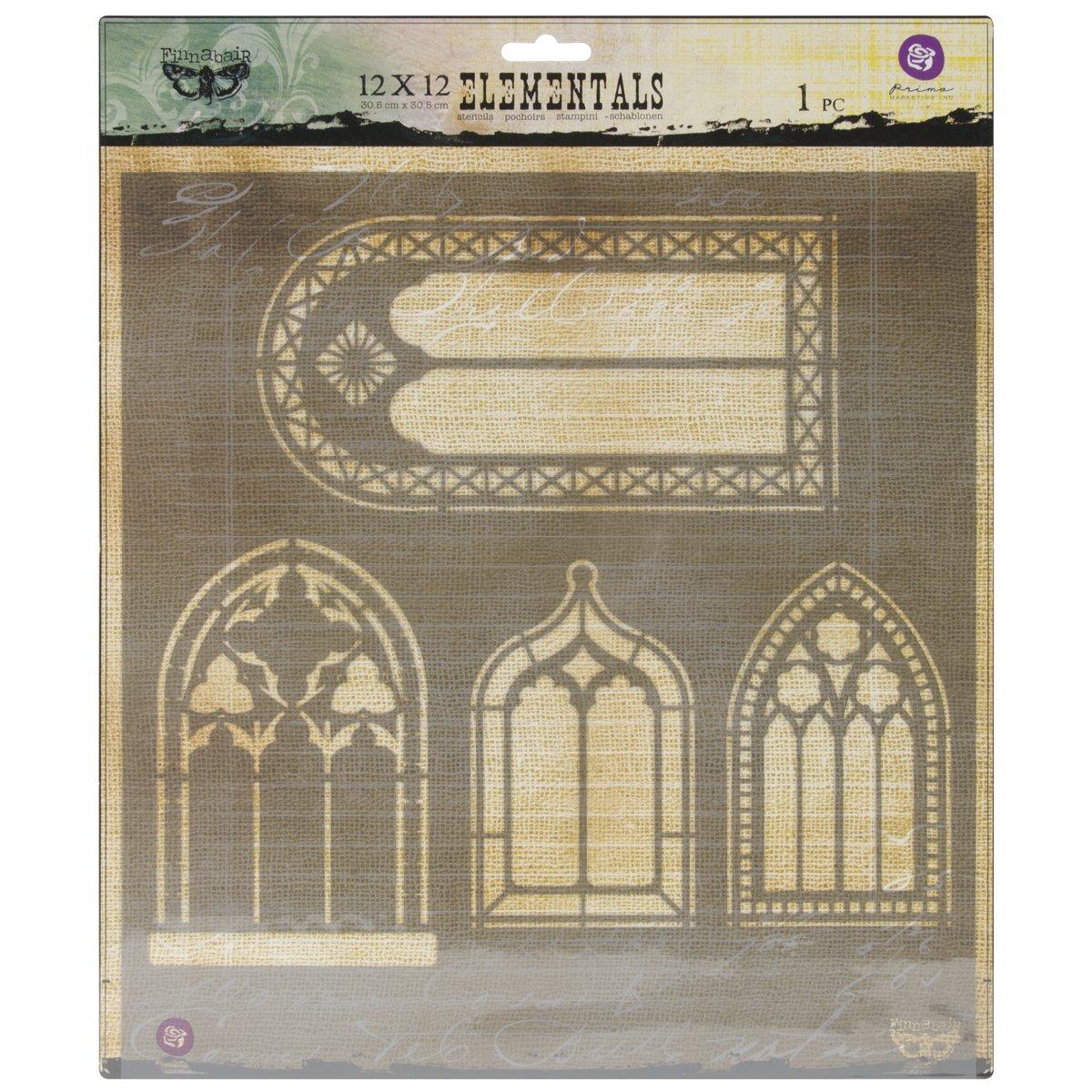 Prima Marketing PSTEN-60483 Elementals Stencil, 12 by 12-Inch, Windows