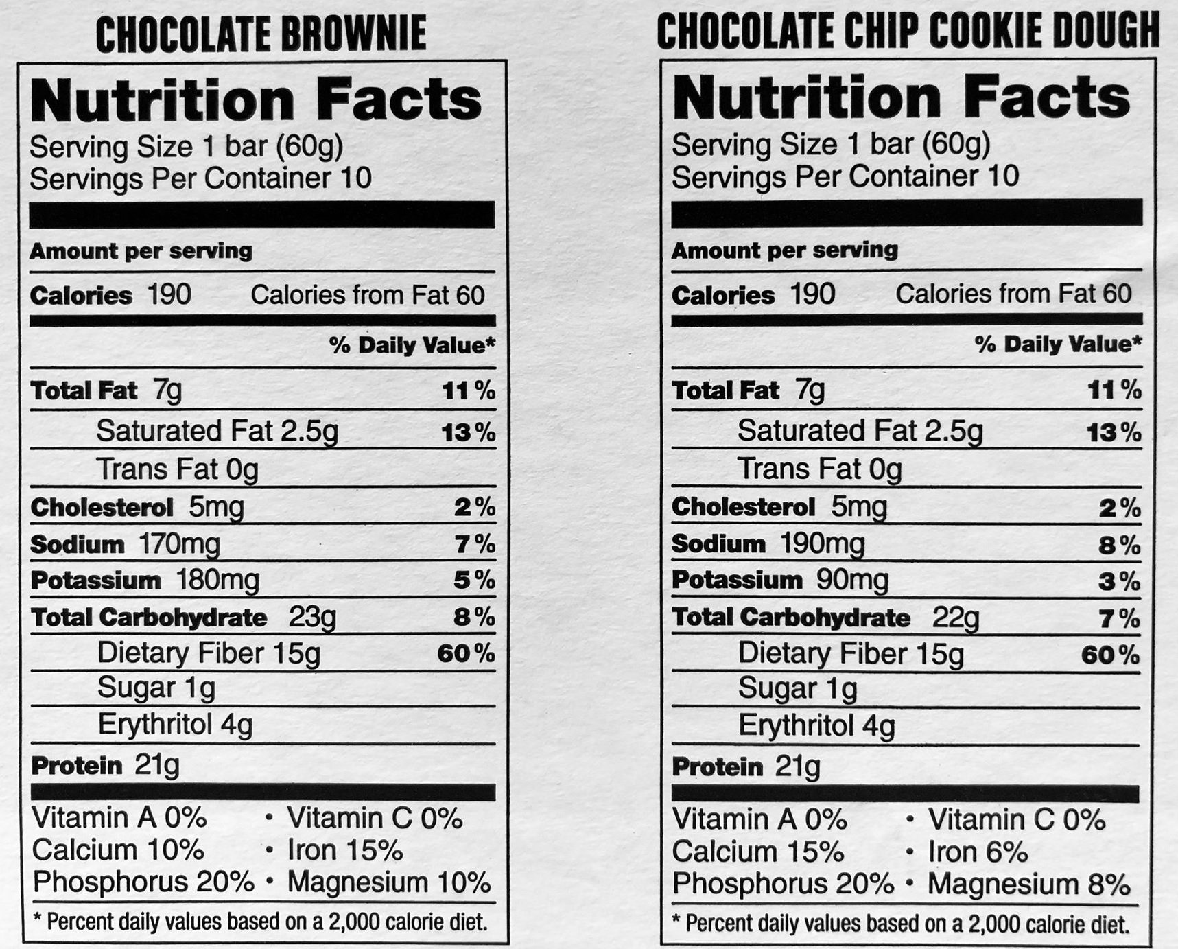 Protein Bar Kirkland Signature delicious energy variety (total 20 pack: 10 Chocolate Chip Cookie Dough, 10 Chocolate Brownie) Gluten Free, Real Chocolate, 15g of Fiber 2.12 oz (40 Count) by Kirkland Signature (Image #3)