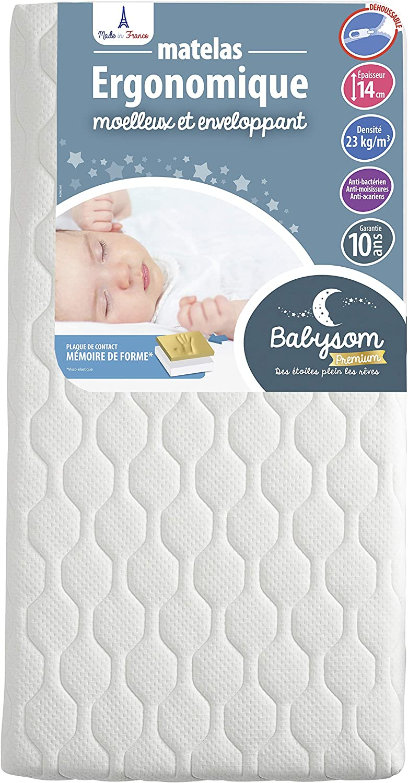 60x120cm Matelas B/éb/é Ergonomique D/éhoussable Anti acarien Babysom Contact M/émoire de forme Epaisseur 14cm