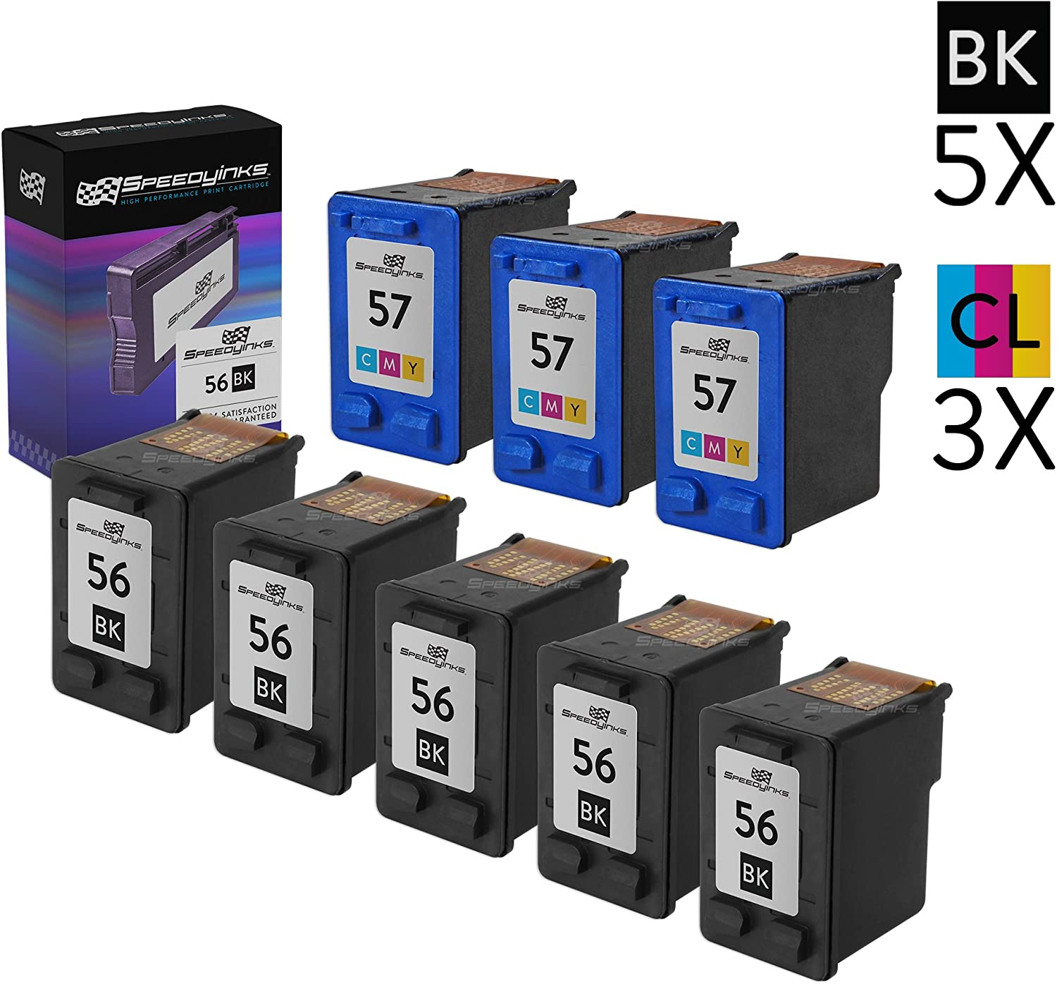 Speedy Inks Remanufactured Ink Cartridge Replacement for HP 56 and HP 57 (5 Black, 3 Color, 8-Pack)