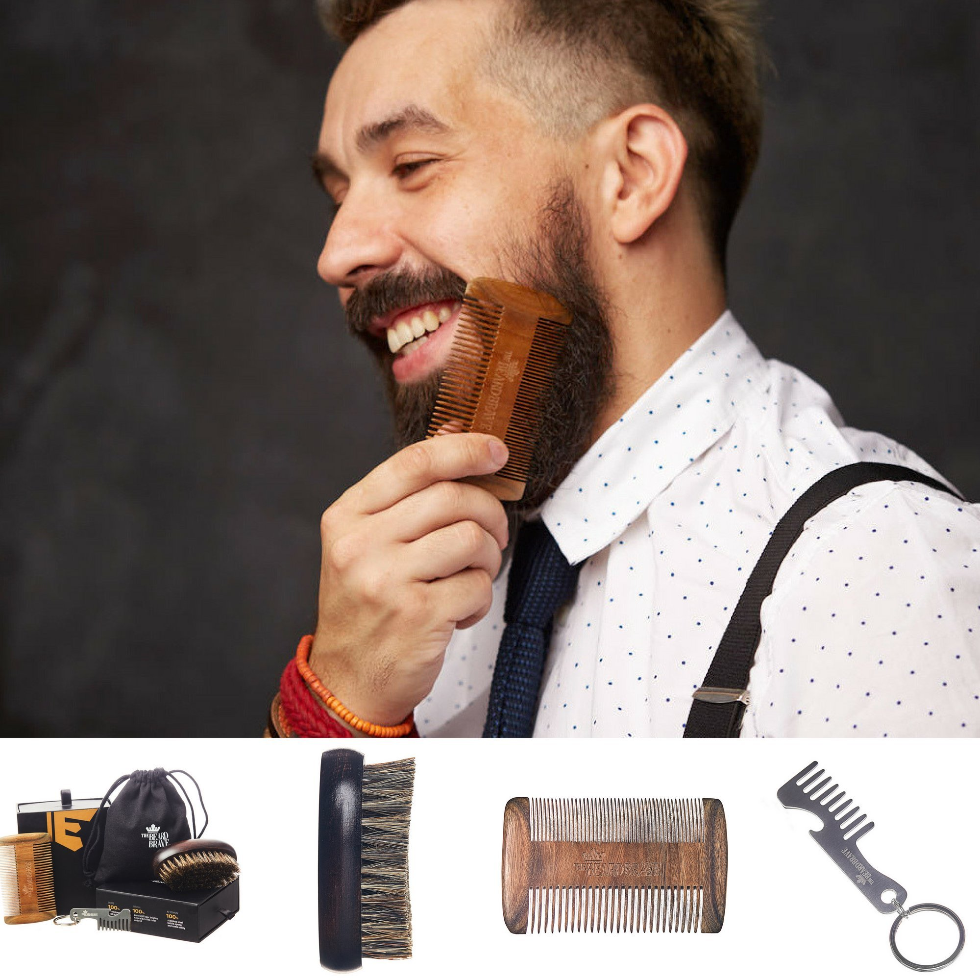Beard Brush and Beard Comb Set - Genuine Sandalwood and Boar Bristle Beard Grooming Kit + 3-IN-1 Utility Mustache Comb Care by The Beard Brave