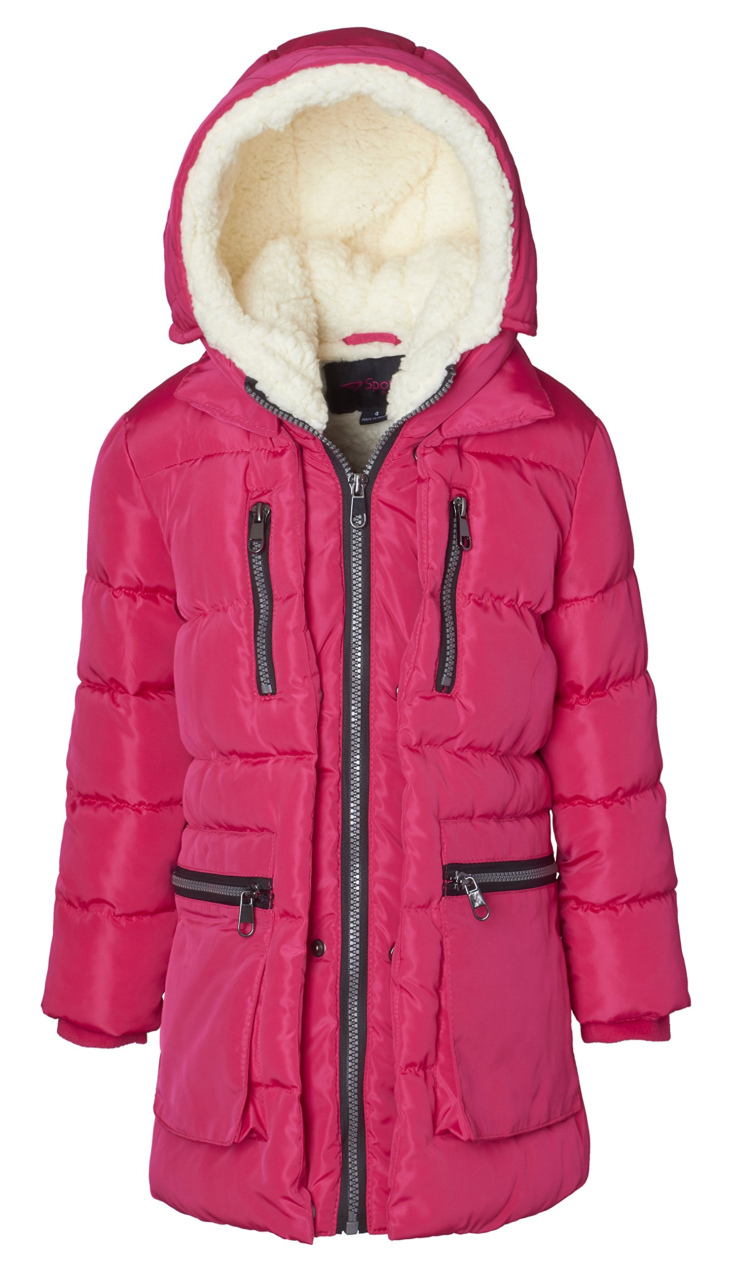 Sportoli Girls' Fleece Lined Heavy Quilted Fashion Detailed Jacket Coat with Attached Sherpa Lined Hood - Rose 5/6