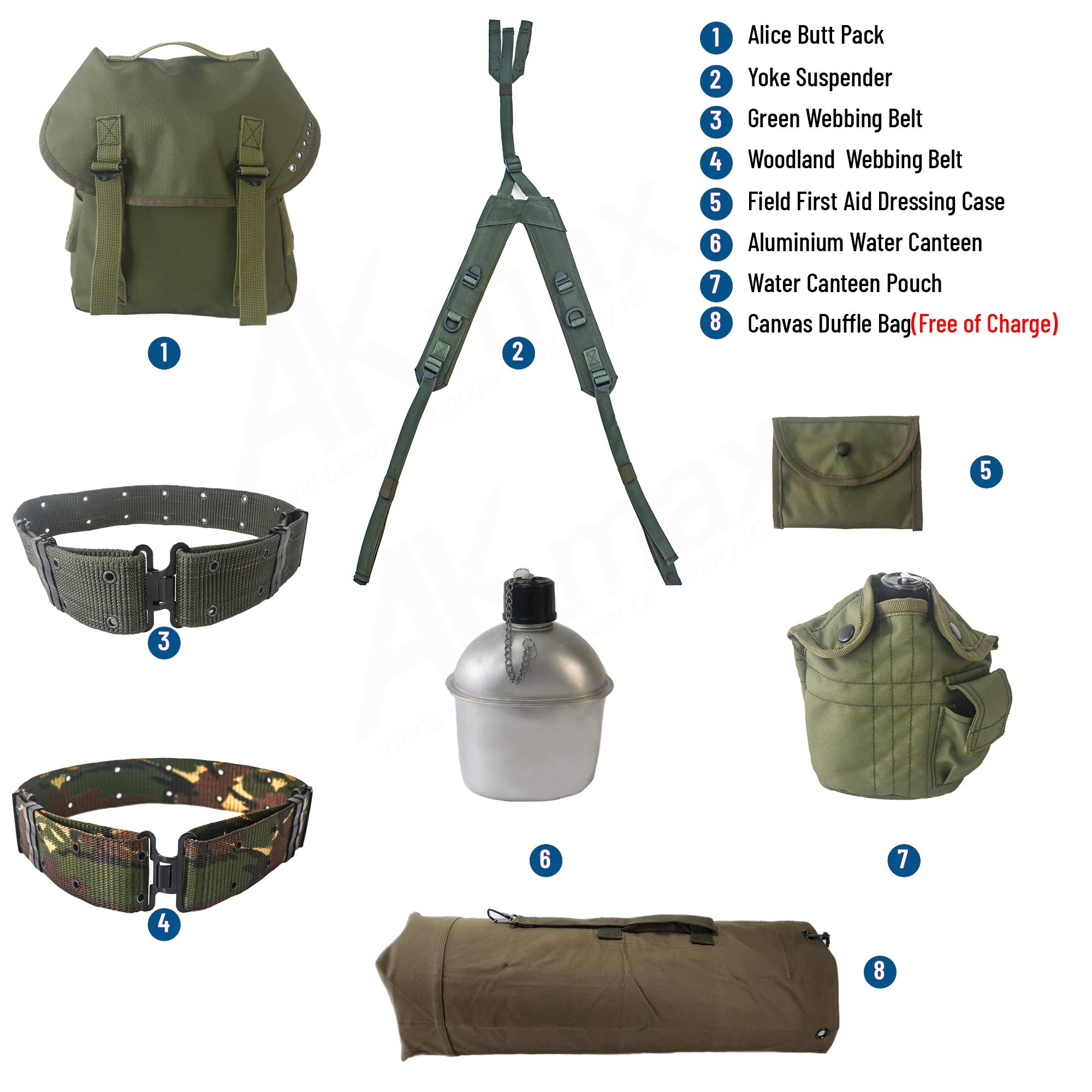 AKmaxUS Alice Pack Accessories 8pcs 600D Polyester Waterproof Olive Drab