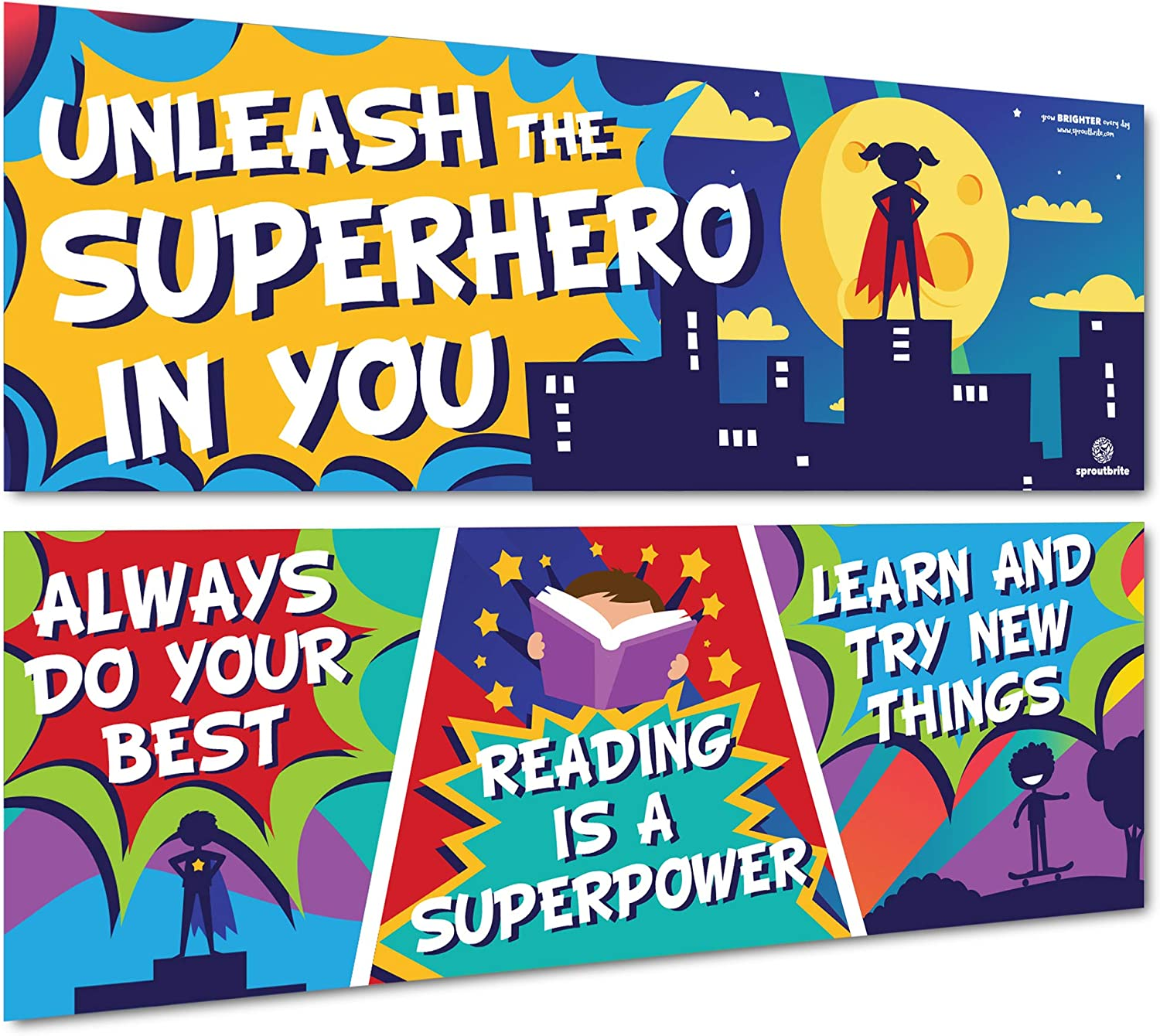 Sproutbrite Superhero Classroom Decorations - Posters and Banners for Teachers - Bulletin Board and Wall Decor for Pre School, Elementary and Middle School