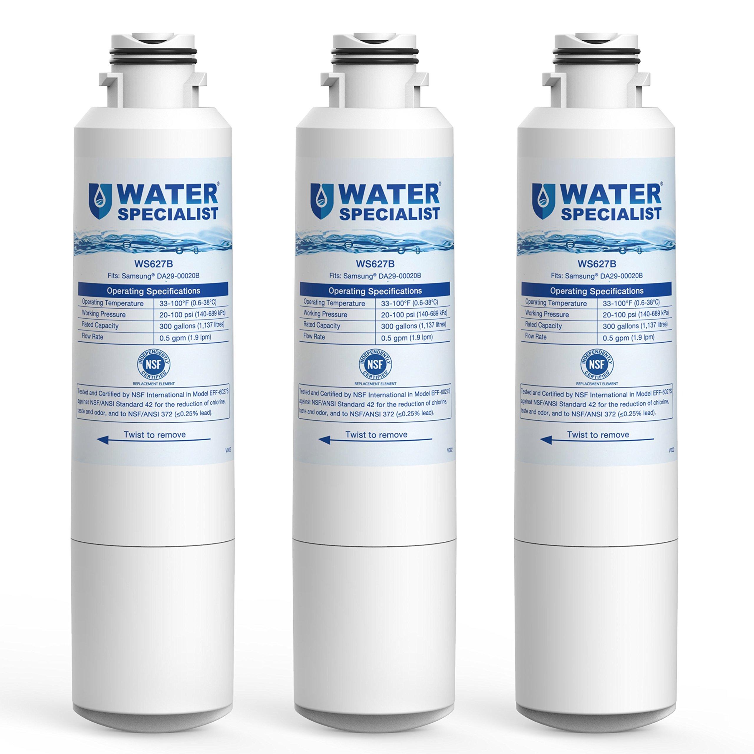 Waterspecialist DA29-00020B Replacement Refrigerator Water Filter, Compatible with Samsung HAF-CIN, HAF-CIN/EXP, DA29-00020A/B, DA97-08006A, RF28HMEDBSR, RF4287HARS, RF263TEAESG, RH22H9010SR, 3 Pack