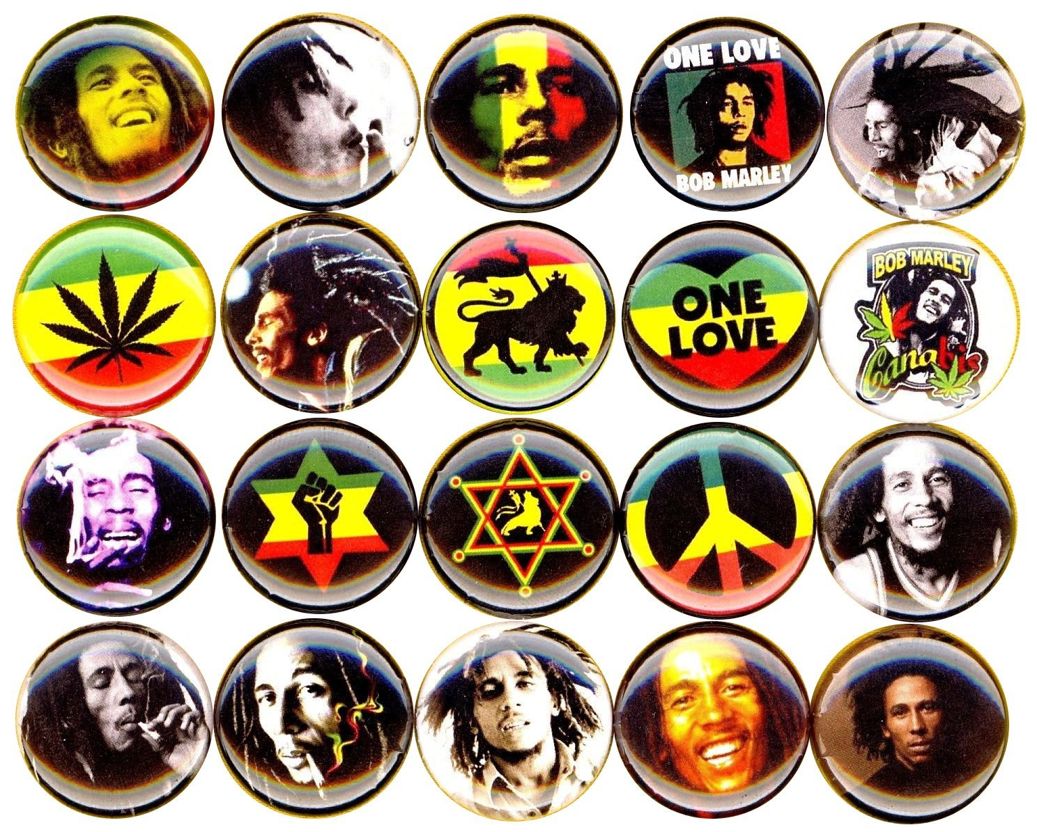 BOB MARLEY 20 NEW 1 Inch (25mm) Set of 20 Pinback Buttons Badges Pins 1''