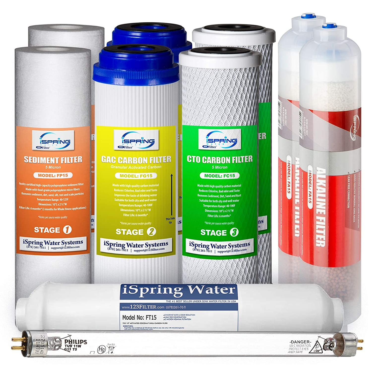 iSpring F10KU 1-Year Replacement Supply Filter Cartridge Pack Set for 7-Stage Alkaline Mineral UV Reverse Osmosis RO Systems