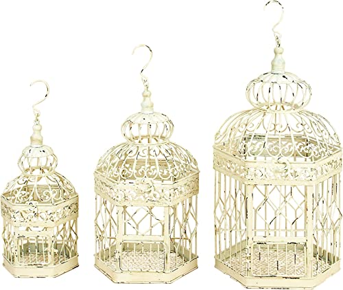 Deco 79 Metal Bird Cage, 21-Inch, 18-Inch and 14-Inch, Set of 3