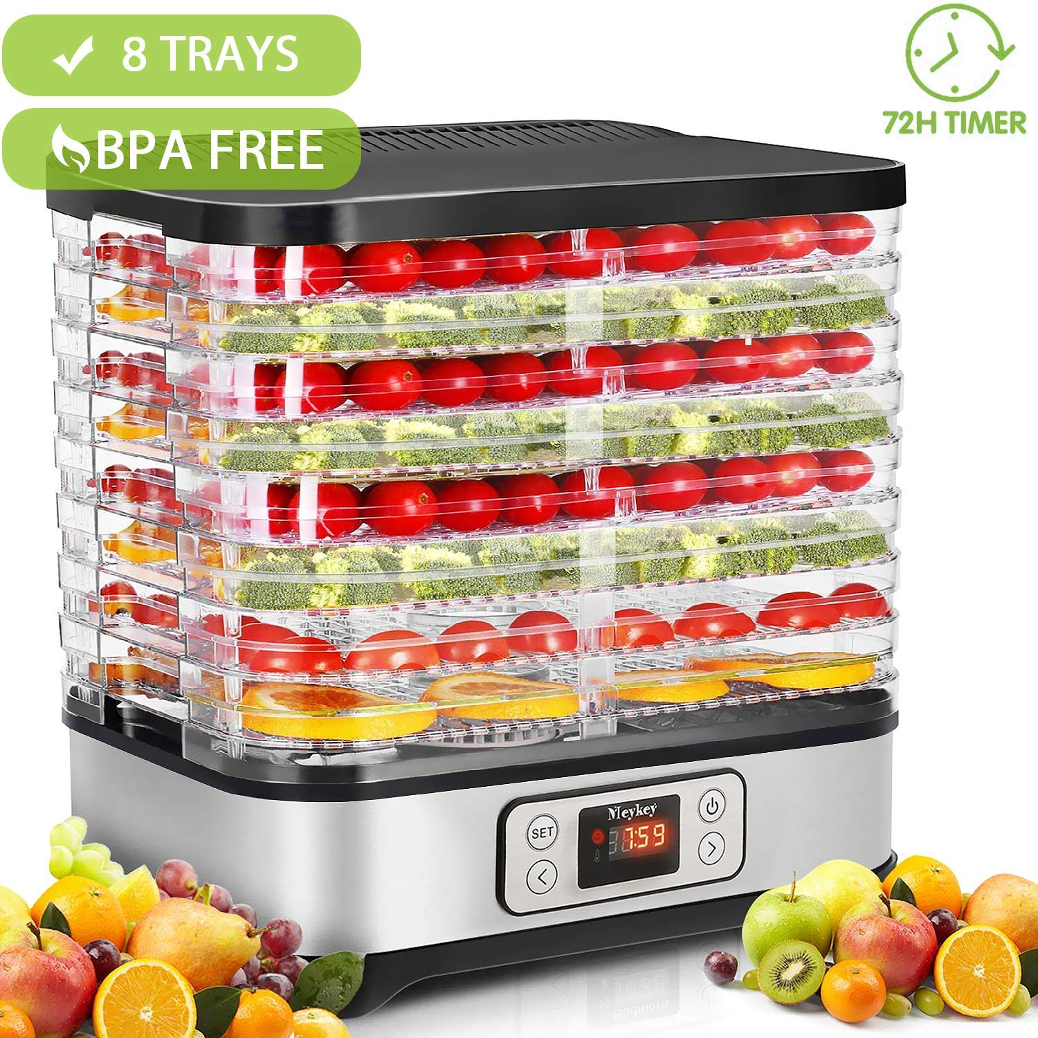 Food Dehydrator Machine with Timer, 8-Tray Electric Food Dryer Timer & Temperature Settings for Jerky, Beef, Fruit, Vegetable, 400 Watt, BPA Free(95º-158º F)