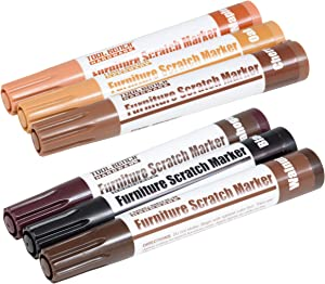 Set of 3 Furniture Scratch Markers to mask scratches, dings, and scuffs - The easiest way to fix your furniture! (Dark Colors (Mahogany, Walnut, and Black))