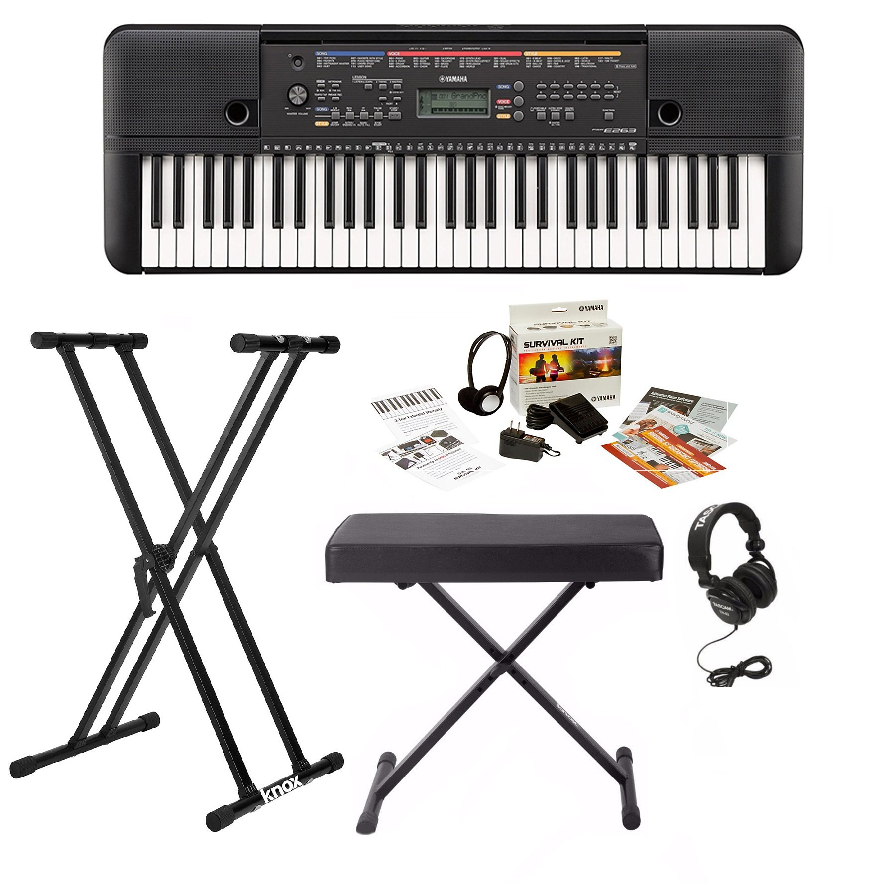 Yamaha PSRE263 61 Key Keyboard with Knox Bench, Stand, Studio Headphones, Survival Kit (Includes Power Adaptor) by YAMAHA