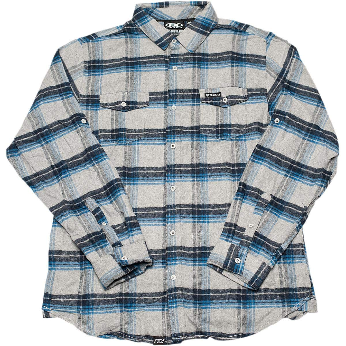 Factory Effex Yamaha Flannel Shirt Blue/Gray (Gray, XX-Large) by Factory Effex