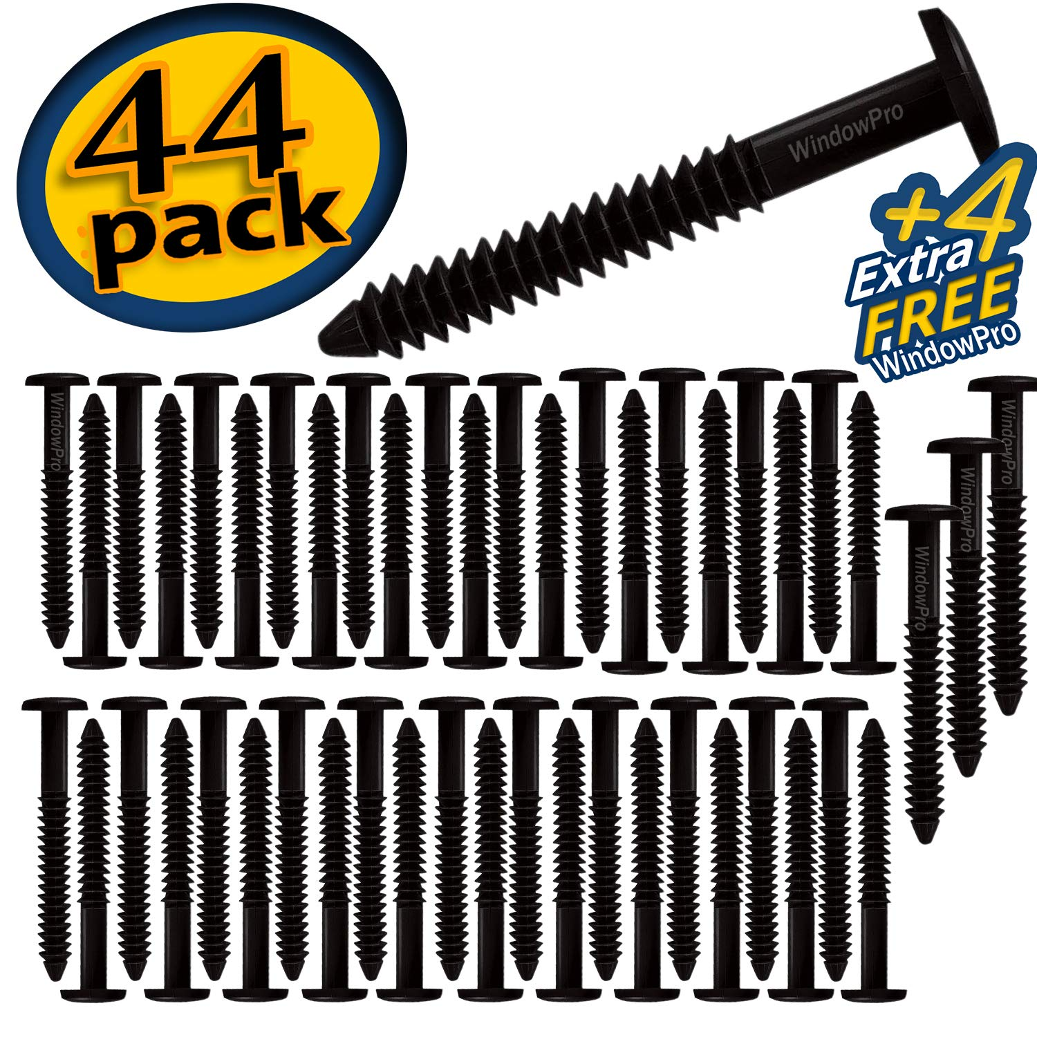 Window Shutters Panel Peg Loks Spikes 3 inch 48 pack (Black) by WindowPro
