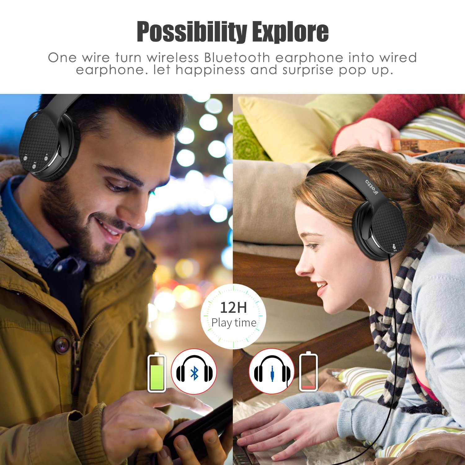 Active Noise Cancelling Headphones, Ifecco Stereo Bluetooth Headphones with Mic HiFi Over-ear Headsets Support Volume Control 3.5mm Jack and Bluetooth Devices, Upgrade Black with case
