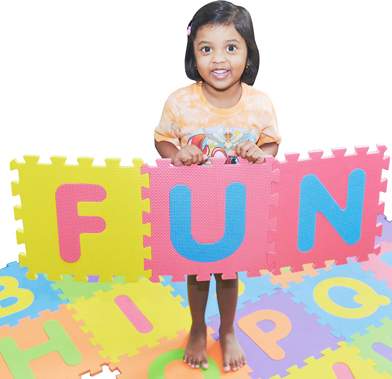 SAFEST Non Toxic Alphabet Puzzle Mat | THICKEST ABC + Numbers 0 to 9 Flooring Mat | Bonus Fun Learning eBook | Reusable Carry Bag | Kids Learn & Play with Interlocking Puzzle Pieces | Eva Foam: Toys & Games