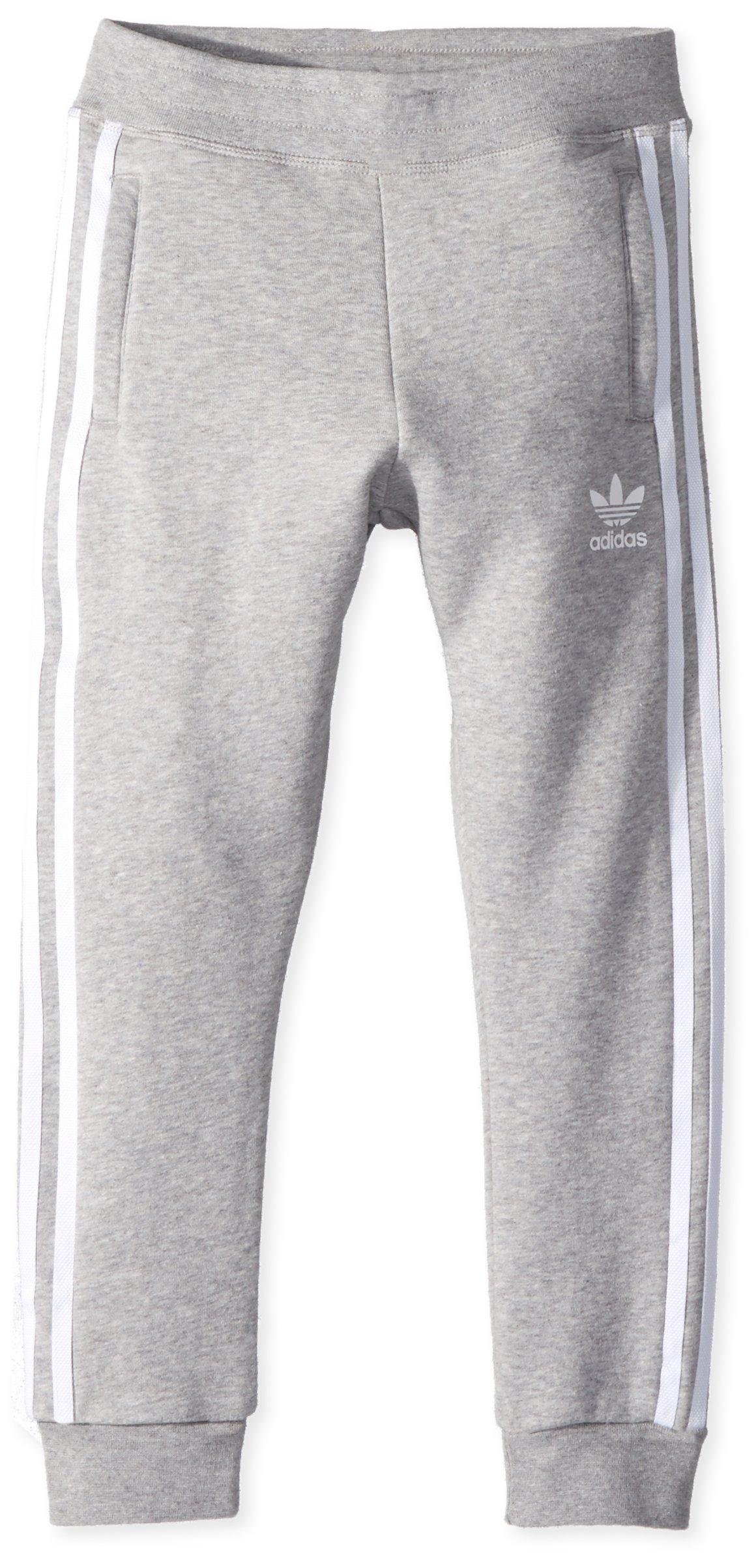 adidas Originals Boys' Little Trefoil Pants, Medium Grey Heather/White, XS