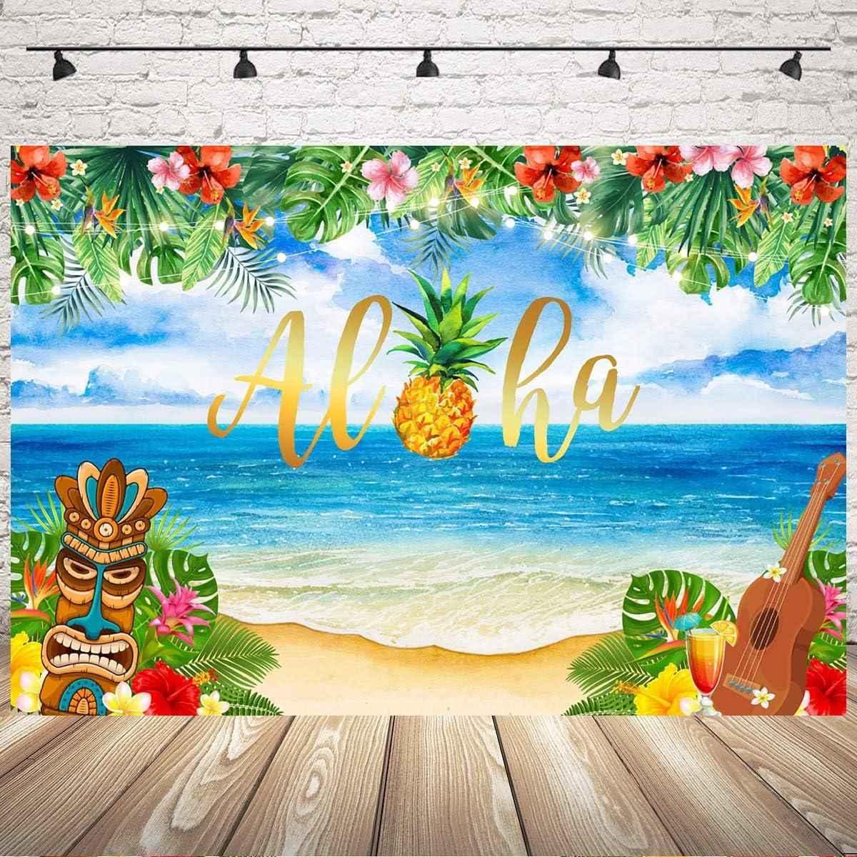 Mehofoto Aloha Party d/écorations 7x5ft Vinyle Tissu /ét/é Luau f/ête Plage Tropicale hawa/ïenne Toile de Fond Tiki Hawaii f/ête Photographie Fond