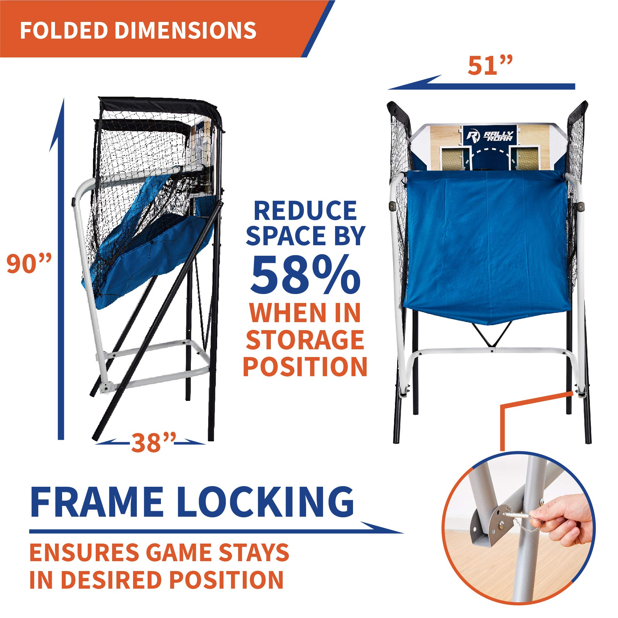 Premium Shootout Basketball Arcade Game, Home Dual Shot with LED Lights and Scorer - 8-Option Interactive Indoor Basketball Hoop Game with Double Hoops, 7 Basketballs, Pump - Foldable Space Saver by Rally and Roar (Image #4)