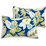 South Pine Porch AM5811S2-MARLOW Marlow Blue Floral Outdoor 19 x 12-inch Rectangle Accent Pillow, Set of 2