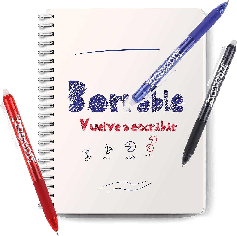 4 unidades Bol/ígrafos Borrables y Recargables con Punta de Gel Rojo y Negro MP Azul
