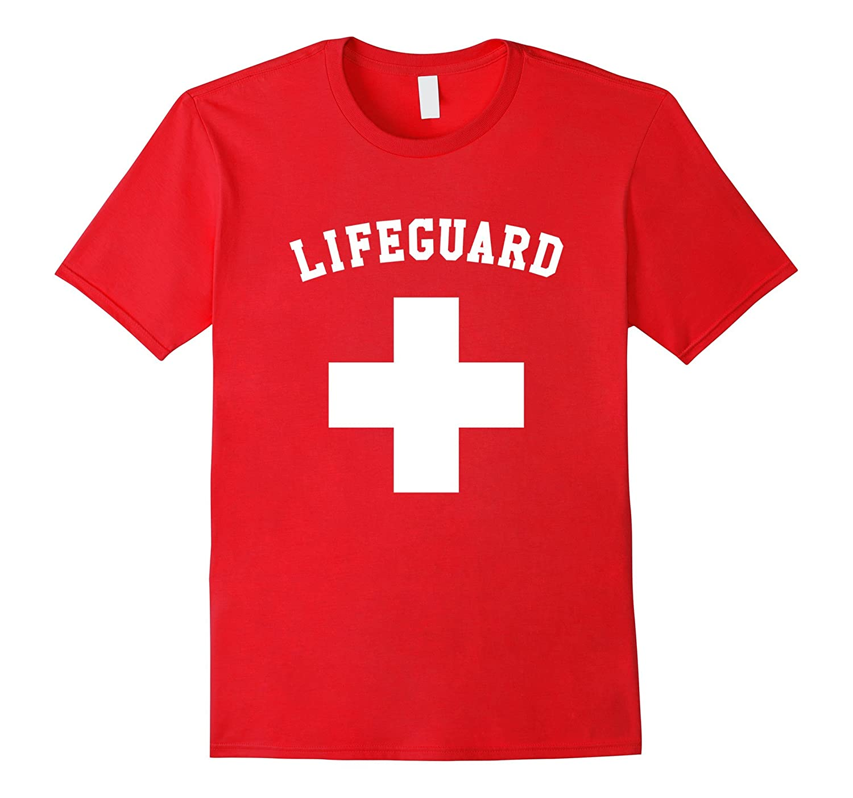 Red Lifeguard T Shirt White Logo-TH