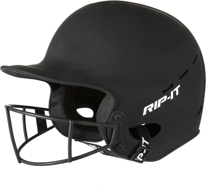 M//L Matte Black RIP-IT Vision Pro Face Guard Softball Baseball Batting Helmet