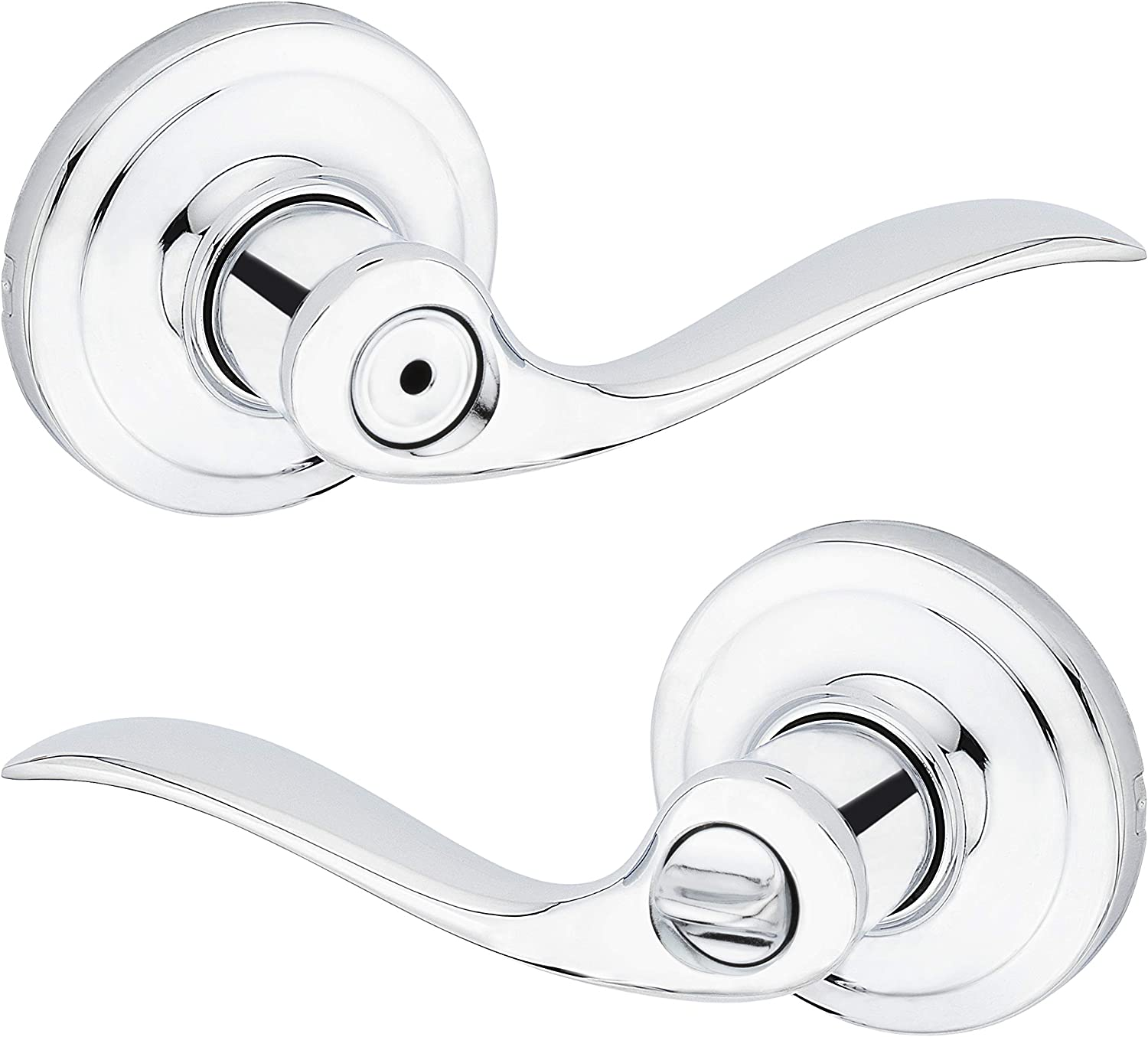 Kwikset 97300-728 Tustin Door Handle Lever with Traditional Wave Design for Home Bedroom or Bathroom Privacy in Polished Chrome