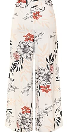 791b6161afc WearAll Women s Plus Floral Print Wide Leg Flared Palazzo Trousers New Ladies  Pants 16-22  Amazon.co.uk  Clothing