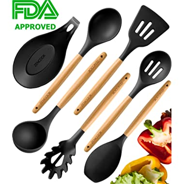 Premium Cooking Utensils Set For Nonstick Cookware - Silicone Kitchen Utensil Set - Heat Resistant Wooden Spoons for Cooking - Silicone Serving Spoons Spatula Set Spaghetti Spoon Rest for Stove Grey