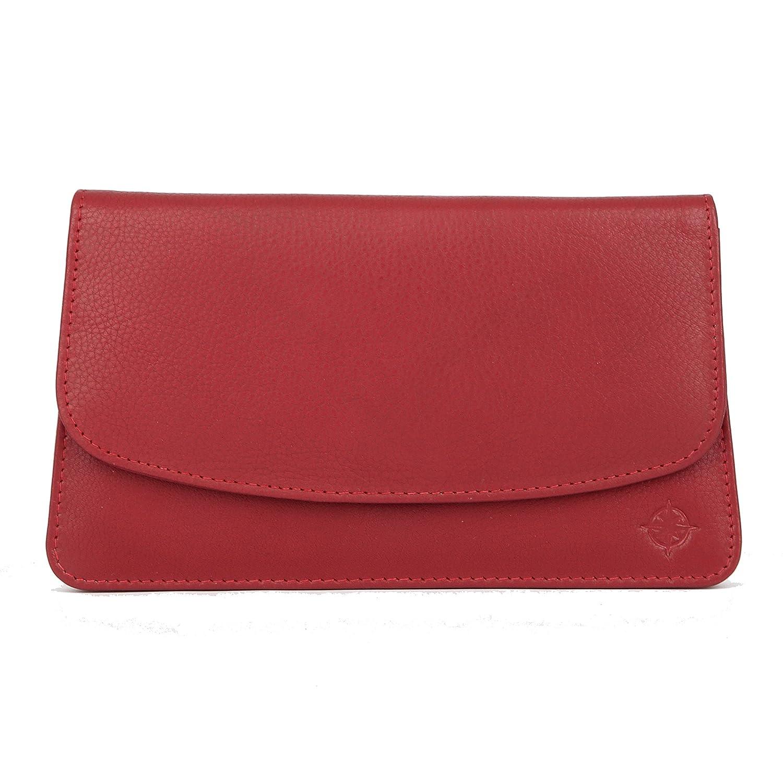 EASTLINE City Kosmetiktasche mit Spiegel Leder | Schminktasche in verschiedenen Farben | Taschenorganizer fü r die Handtasche (Rot)