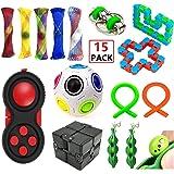 EDsports 12 Pack Sensory Fidget Toys Set-Bike Chain,Marble Fidget Toys,Rainbow Magic Sensory Balls,Squeeze-a-Bean Soybeans for Autistic Relieves Stress