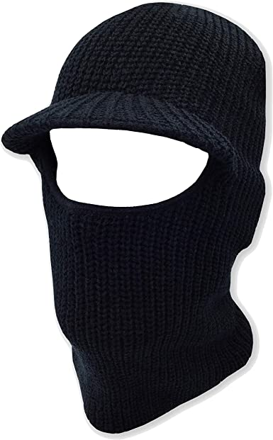 Winter Warm Knitted Beanie Face Mask with Visor Snow Balaclava Black