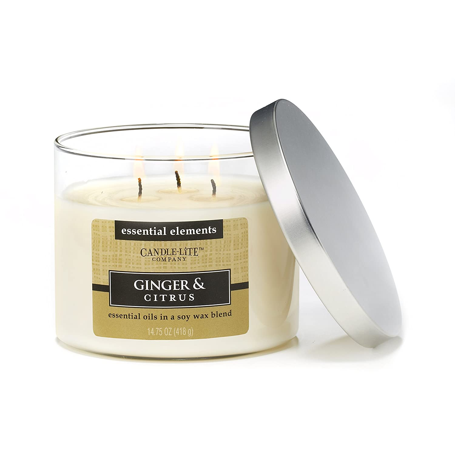 Candlelite Essential Elements 14-3/4-Ounce 3 Wick Candle with Soy Wax, Eucalyptus and Cucumber CanonInk 1542174