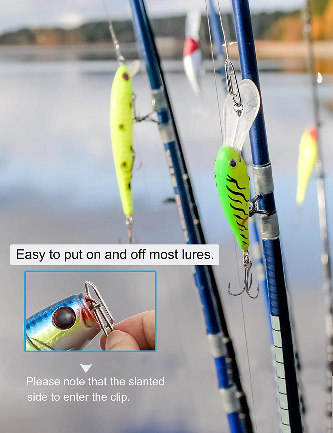 Fast Change Lure Snaps for Saltwater Freshwater Facikono Power Clips Fishing Speed Clip Connector