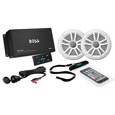 BOSS Audio Systems ASK902B.6 Marine 500 Watt 4 Channel Amplifier 6.5 Inch Speaker Bluetooth System, Bluetooth Remote, USB Auxiliary Interface Mount, Waterproof Pouch: Car Electronics