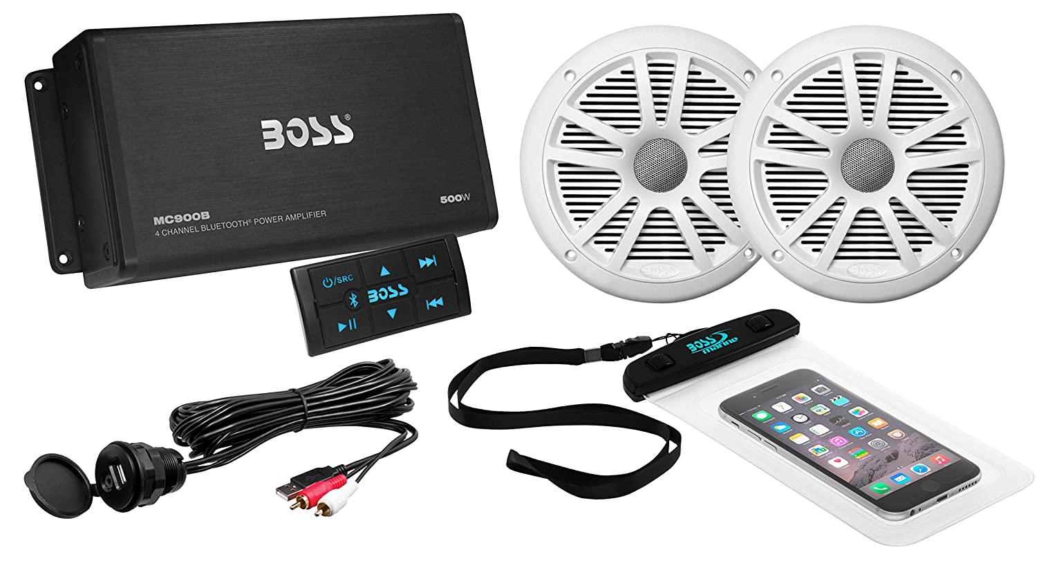 BOSS AUDIO ASK902B.6 Marine Package Includes 500 Watt Max 4-Channel Bluetooth Amplifier One Pair 6.5 inch MR6W Marine Speakers Universal USB Cable and Phone Pouch