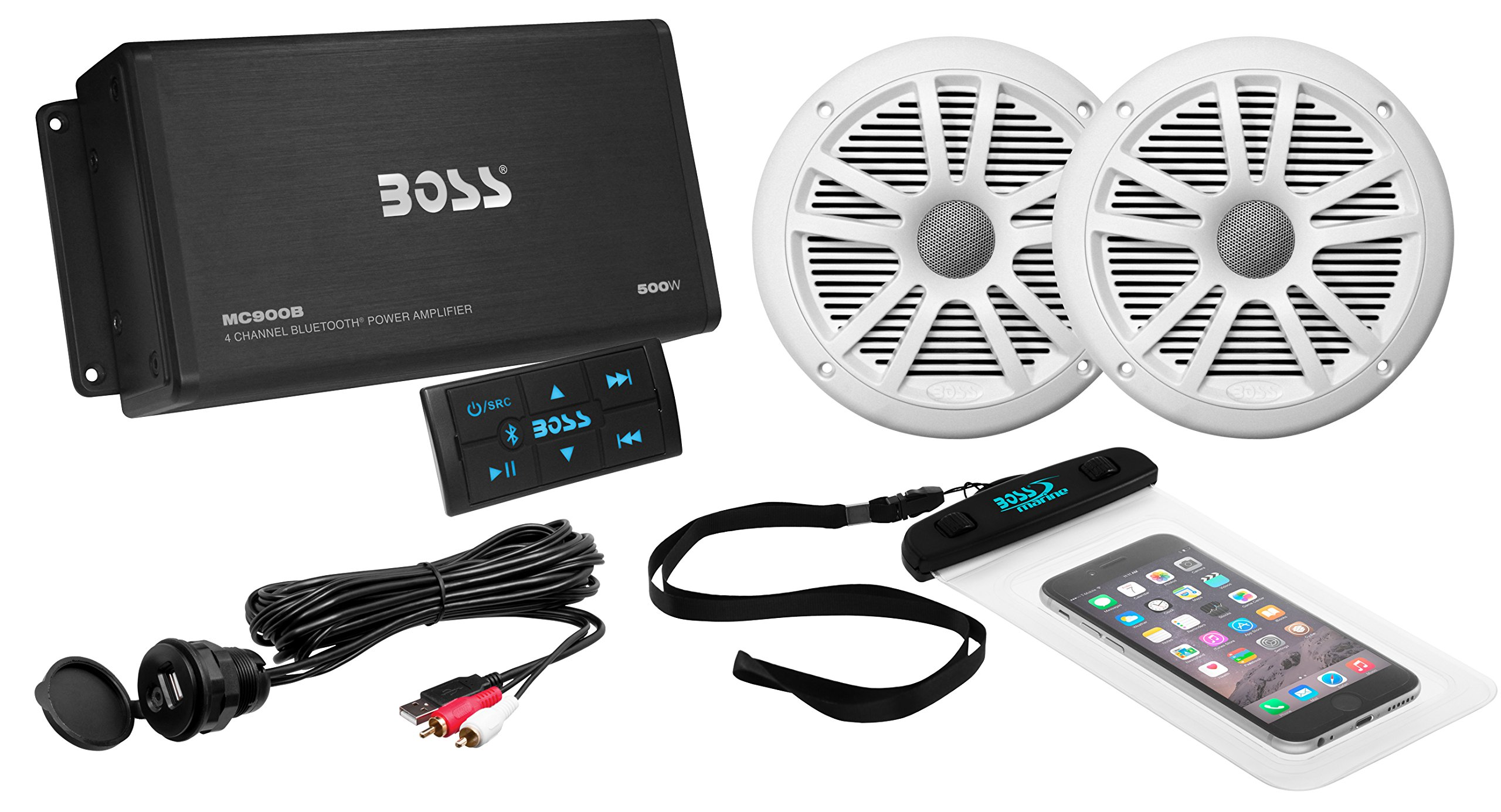 BOSS Audio Systems ASK902B.6 Marine 500 Watt 4 Channel Amplifier  6.5 Inch Speaker Bluetooth System, Bluetooth Remote, USB Auxiliary Interface Mount, Waterproof Pouch by BOSS Audio Systems