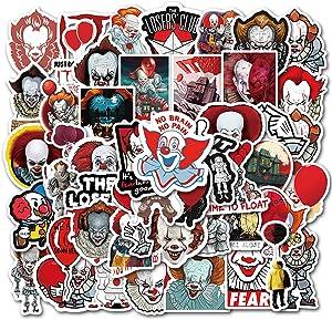 50 PCS Laptop Sticker Terror Movie It Theme Stickers Waterproof Vinyl Scrapbook Stickers Car Motorcycle Bicycle Luggage Decal (Terror Movie)