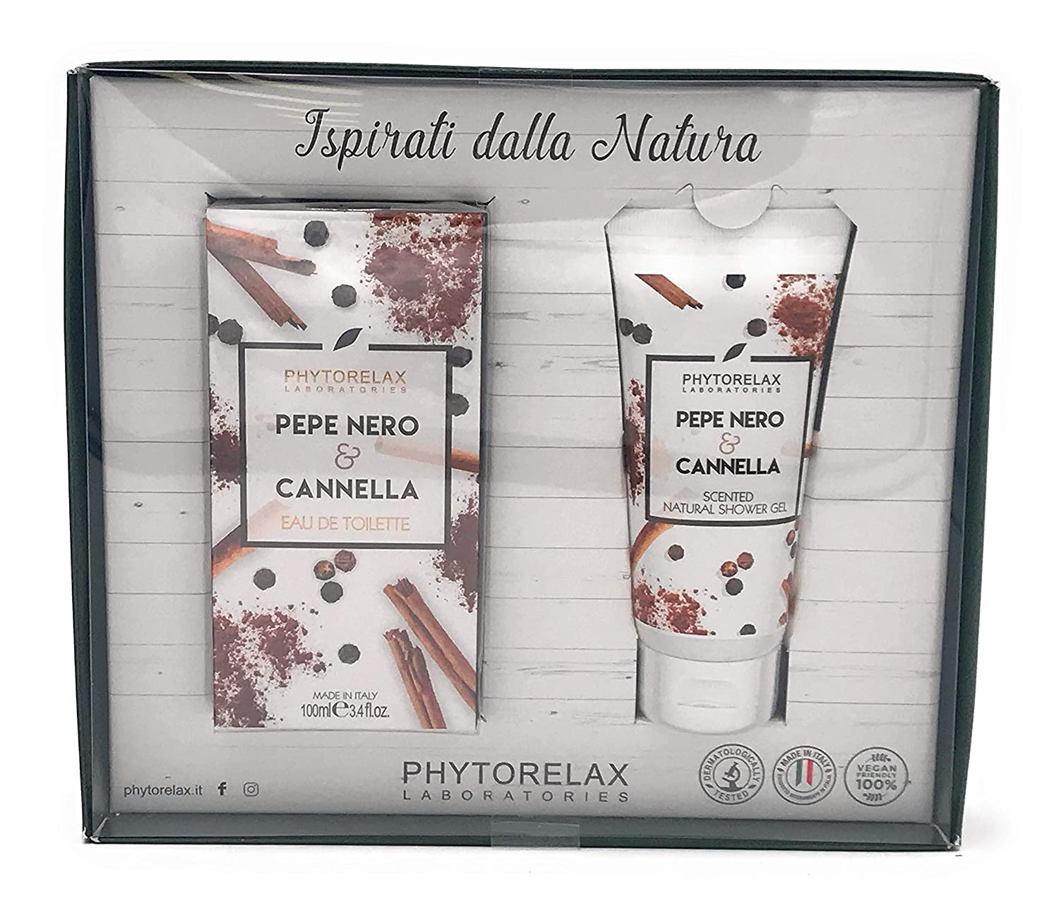 Phytorelax Confezione Profumo Pepe Nero & Cannella 100ml + Shower Gel 100ml | Idea Regalo Harbor