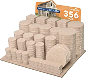 Furniture Pads 356 Pieces Premium Felt Pads Self Adhesive (Beige), 10 Different Sizes Felt Furniture Pads for Furniture Feet, Cuttable Anti Scratch Hardwood Floor Protectors with 100 Cabinet Bumpers