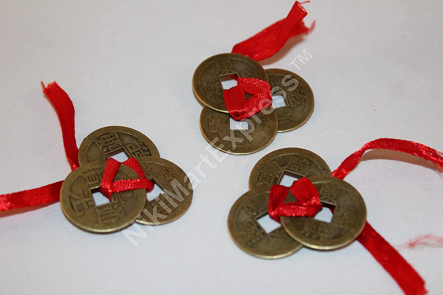 Chinese 3 Ribbon Tied Ancient Brass Coins Lucky Feng Shui Protection 1x set