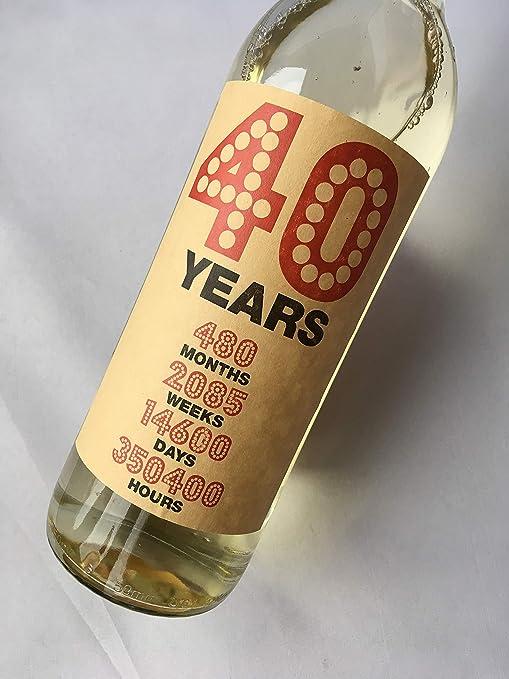 Purpleproducts - Etiqueta para Botella de Vino de 40 ...