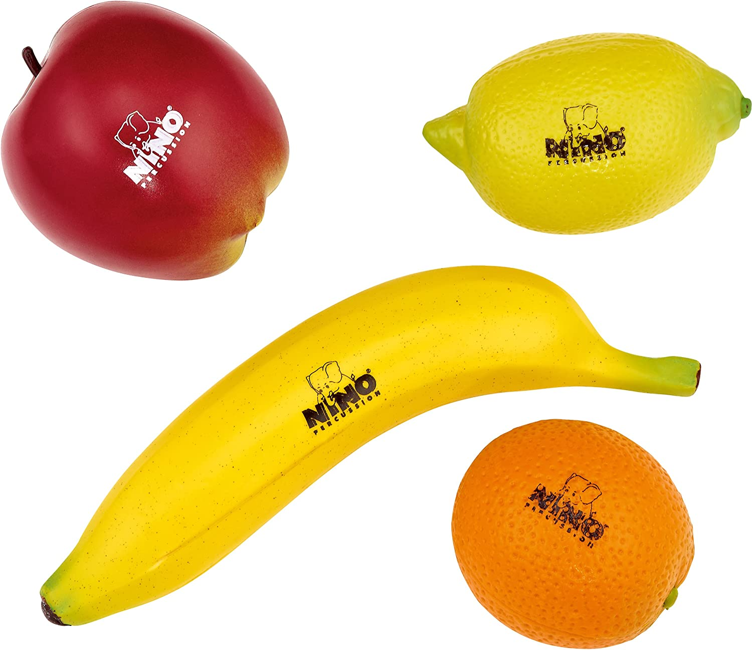 Nino Percussion Kids Plastic Percussion Shapes-NOT Made in China-for Classroom Music or Playing at Home, 2-Year Warranty, 4-Piece Fruit Shaker Set (NINOSET100)