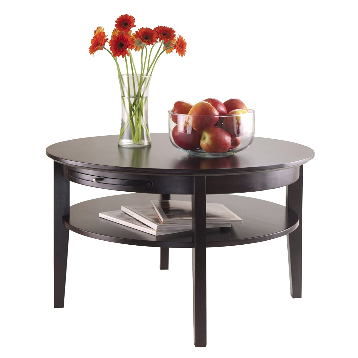 Amazon WINSOME Amelia Round Coffee Table with Pull Out Tray