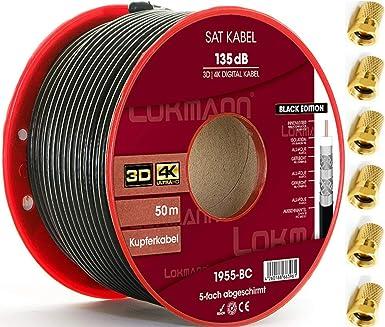 LOKMANN Cable coaxial de 50 m de cobre puro, 135 dB, apantallado de 5 capas, cable coaxial para antena de TV, Full HD, UHD, 4K, 8K + 10 conectores F