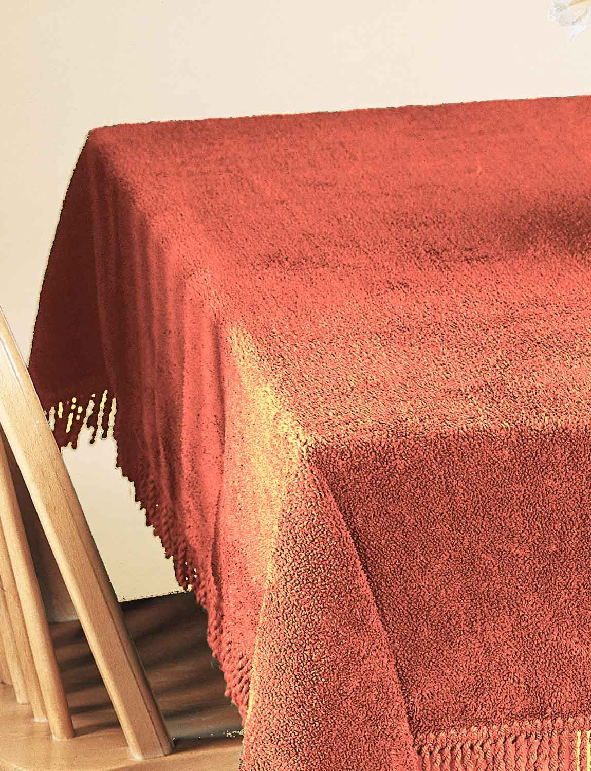 100% Pure Cotton Chenille Table Covers By Diana Cowpe Rust Round