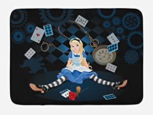 Ambesonne Alice in Wonderland Bath Mat, Grown Size Alice Sitting with Flying Cards and Rose Checkered Cartoon, Plush Bathroom Decor Mat with Non Slip Backing, 29.5