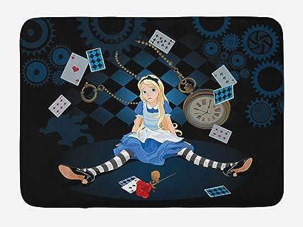 Amazon Com Ambesonne Alice In Wonderland Bath Mat Grown Size Alice